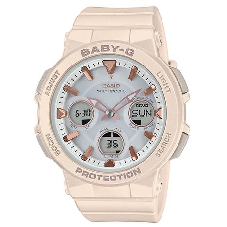 ベビーG Baby-G アースカラー ピンク 電波ソーラー デジタル×アナログ 腕時計 大人っぽい レディース CASIO カシオ 国内正規品 BGA-2510-4AJF