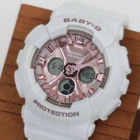ベビーG Baby-G デジタル×アナログ BA-130系 ホワイト メタリックピンク文字盤 レディース ウォッチ 腕時計 CASIO カシオ 国内正規品 BA-130-7A1JF