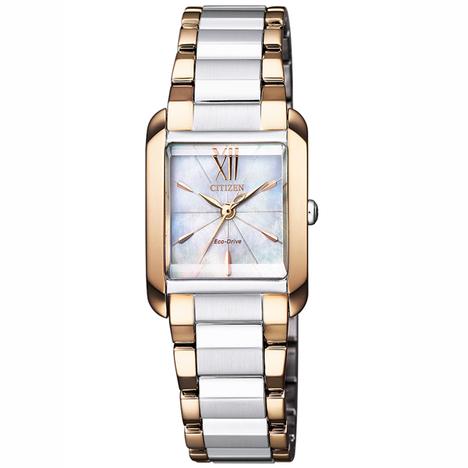 CITIZEN L シチズン エル スクエアコレクション 白蝶貝文字盤 シルバー×ゴールドコンビ エコドライブ ソーラー腕時計 レディース 国内正規品 EW5559-89D