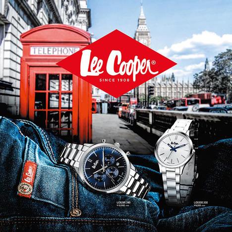20%OFF リークーパー LeeCooper ロンドン発 デニムブランド ブルー文字盤 ステンレスメタルベルト デュアルタイム 曜日日付 腕時計 メンズウォッチ 正規品 LC6857.390