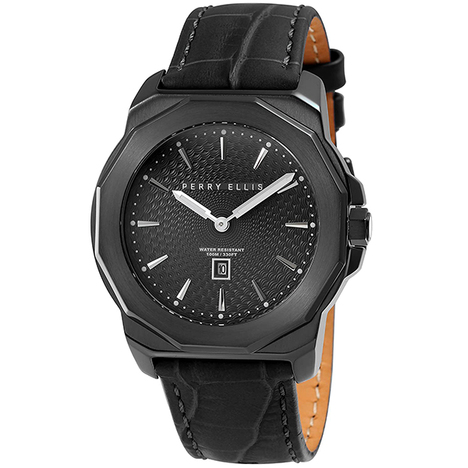 ペリーエリス PERRY ELLIS デカゴン DECAGON 42mm オールブラック 本革バンド メンズ 腕時計 アメリカ 正規輸入品メーカー2年保証 08007-01