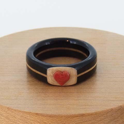 木の指輪 黒檀 ピンクアイボリー