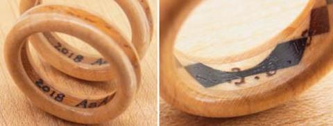 木の指輪の文字入れ