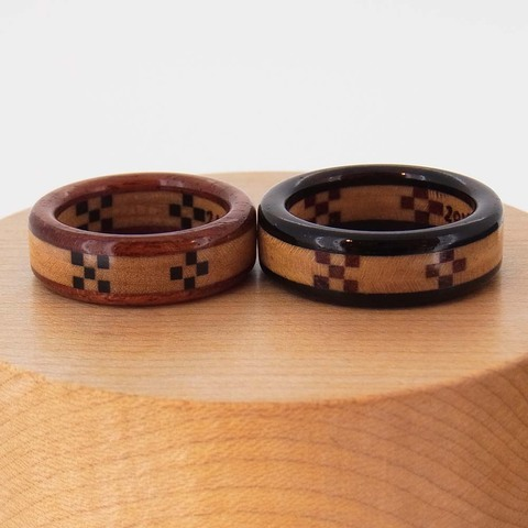 ミンサー織の木の指輪