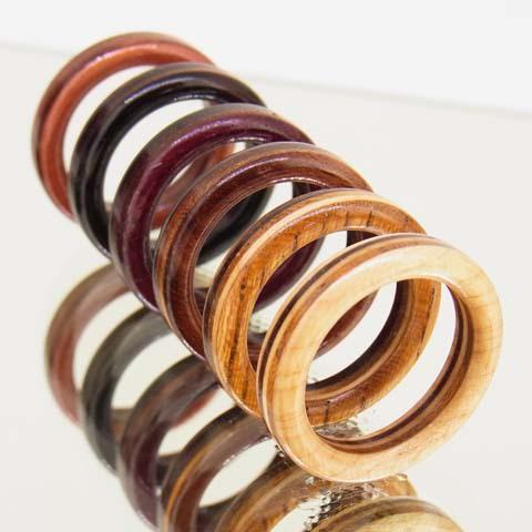 木製指輪 スミス・スリムタイプ 赤